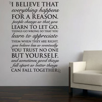 "Wall Vinyl Quote - Everything Happens for a Reason - Marilyn Monroe Quote (24""x 32"")"