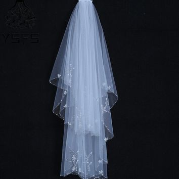 YSFS Cute Two Layers White Ivory Short Bridal Veils Beaded Edge Bridal Wedding Veils With Comb Velos De Novia Head Veils
