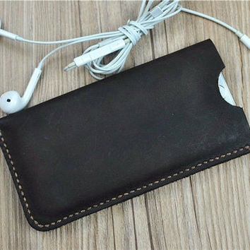 Dark Brown iPhone 6s Plus Case, iPhone 6s Wallet Case, Leather iPhone Case Vintage, Halloween Gift,O246
