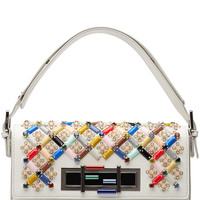 Fendi - Embellished Leather Baguette Shoulder Bag