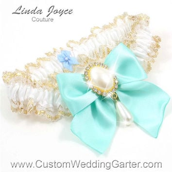 White and Aqua Blue WEDDING GARTER Pearl Bridal Lace Garter 112 White 314 Aqua Miint Gold Prom Garter Plus Size & Queen Size Available too