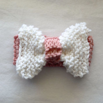 Baby/Toddler knit bow headband ear warmers