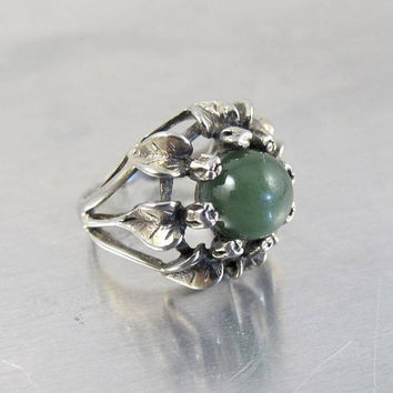 Antique Arts Crafts Ring, Green Chrysoprase. Floral Leaves Design. Bernard Instone Style, Arts Crafts Jewelry