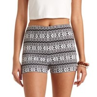 Tribal Print High-Waisted Shorts by Charlotte Russe - Black Combo