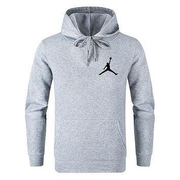 Jordan Tide brand men and women models solid color wild casual sports hooded sweater Grey
