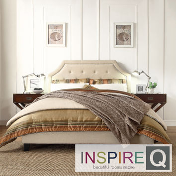 TRIBECCA HOME Esmeral Beige Linen Button Tufted Arched Bridge Upholstered Bed