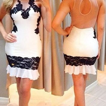 White Patchwork Lace Grenadine Backless Peplum Bodycon Homecoming Party Mini Dress