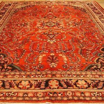Red Wool Genuine Hand-Knotted 11 x 13 Sarouk Tribal Old Design Persian Rug