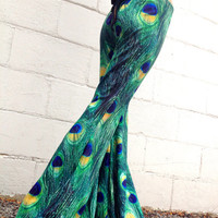 Amazing Flow Pants ~ Custom Peacock, Galaxy, Lace, Stripes of Drawstring or Elastic Waist ~ Festivals, Hooping, Fire Play, Flow Bell Bottoms