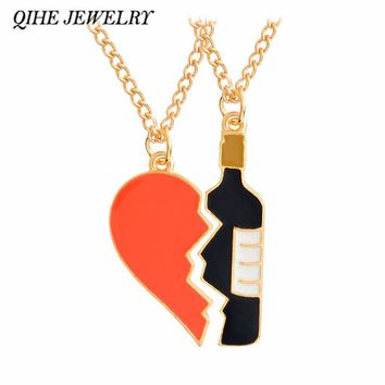 QIHE JEWELRY 2 pieces Heart and wine pendant necklace Best friend girlfriend boyfriend couple jewelry Anniversary gifts