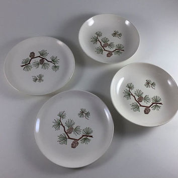 Vintage Marcrest Stetson Pinecone Fir Tree Dinner Plate And Bowl Set of 2 Ovenproof Hand Decorated Dinnerware Cabin Mid Century Rustic Decor