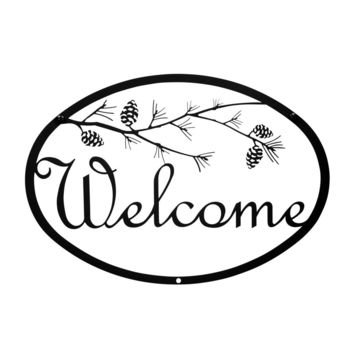 Wrought Iron Pinecone Welcome Home Sign Medium
