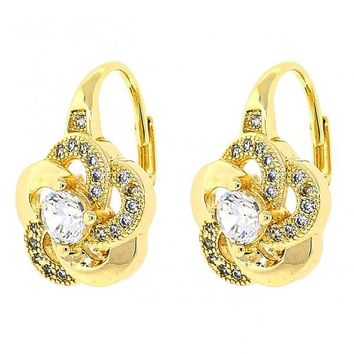Gold Layered 02.195.0047 Leverback Earring, Flower Design, with White Cubic Zirconia and White Micro Pave, Polished Finish, Golden Tone