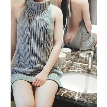 Woman's Knitted Sexy Solid Color Turtleneck Sleeveless Backless Sweater