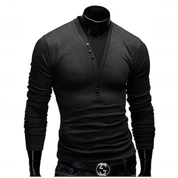 T Shirt Men Brand 2017 Fashion Men'S Fake two Stitching Design Tops & Tees T Shirt Men Long Sleeve Slim T shirt Homme XXL