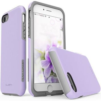 Iphone 7 Case Iphone 8 Case Team Luxury [clarity Series] Updated G Ii Purple Ultra Defender Tpu + Pc [shock Absorbent] Premium Protective Case For Apple Iphone 7 & Iphone 8 (lavender/ Gray)