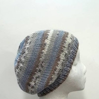 Knit Beanie Hat White Blue Brown cap  4743