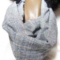 Plaid Patterned Scarf - Linen Handmade Circle Infinity Scarf