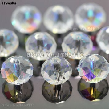 Isywaka White AB 6*8mm 70pcs Rondelle  Austria faceted Crystal Glass Beads Loose Spacer Round Beads for Jewelry Making