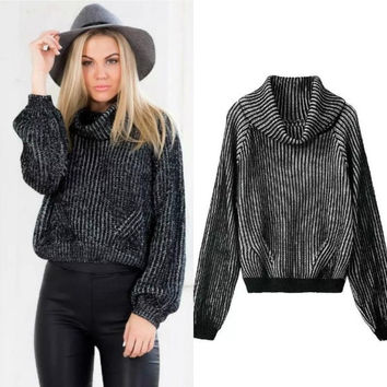 2015 Autumn Winter Women High Neck Cropped Sweaters Casual Knit Pullovers(Black,M) (Size: M, Color: Black & White) = 1946286788