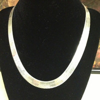 """Italian Sterling Herringbone Necklace Chain 24"""" Italy 101 Grams 925 Silver Vintage Jewelry Southwestern Mother's Birthday Anniversary Gift"""