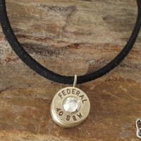 40 Caliber Bullet Casing Necklace - Clear Crystal