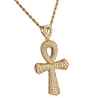 Ankh Cross Pendant 14K Rose Gold Finish Iced Out Lab Diamonds Stainless Steel Box Chain 24 Inch
