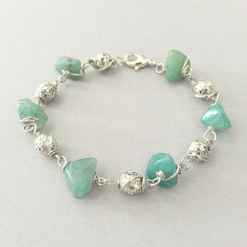 Hand Wrapped Adventurine Green Quartz Tribal Sterling Silver Bracelet - Gem Stones, Chipped Stones, Semi Precious