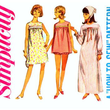 60s Nightgown and Baby Doll Pajamas 1960s Vintage Sewing Pattern Bust 30 UNCUT Simplicity 6757 Juniors Sleepwear, Easy To Sew