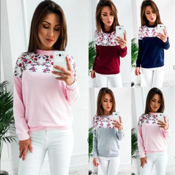 Women'S Round Neck Printing Long-Sleeved Sweater