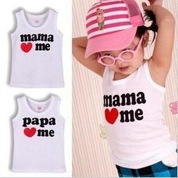 2017 new love mom and Dad series of boys and girls lovely letters vest cotton T-shirt, beach party all-match paragraph
