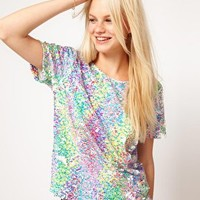 ASOS Embellished T-Shirt With Printed Sequins at asos.com