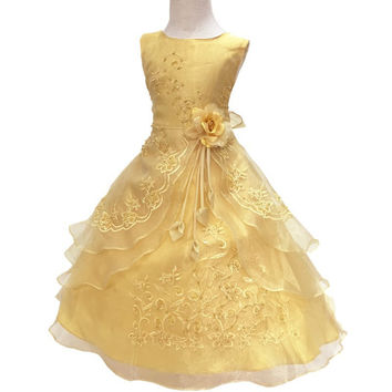 Nicoevaropa New Flower Girls Party Dress Embroidered Formal Bridesmaid Wedding Girl Christmas Princess Ball Gown Kids Vestido