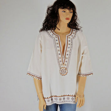 Plus Size Linen tunic top, boho, hippie kaftan blouse 80's size 26 / 28