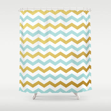 Tiffany Blue and Gold Chevron Pattern Shower Curtain by Enduring Moments