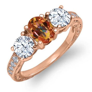 2.42 Ct Oval Ecstasy Mystic Topaz 18K Rose Gold Plated Silver Ring