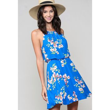 Halter Skater Dress - Floral Blue