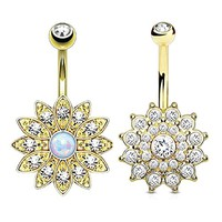 BodyJ4You Belly Button Ring Jeweled Flower Crystal Goldtone Created-Opal 14G Piercing Bar 2-Piece