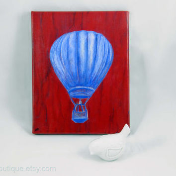 Hot Air Balloon Canvas, Bright Painting, Hot Air Balloon Artwork, Home Wall Art, Bright Red Blue, Original, Home Decor, Gift Idea
