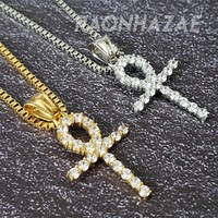 """316L Stainless Steel Gold Silver Ankh Cross Charm w/ 2mm 24"""" Box Chain GM08"""