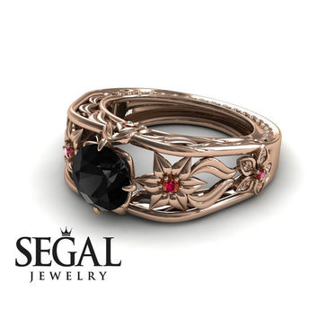 Unique Engagement Ring 14K Red Gold Flowers Leafs Vintage Art Deco Ring Black Diamond With Ruby - Alexis