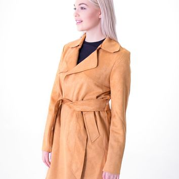 Faux Suede Short Trench - Mustard