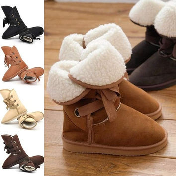 Women Warm Faux Fur Lace-up Comfort Flats Ankle Winter Snow Boots 5 Colors = 1931955716