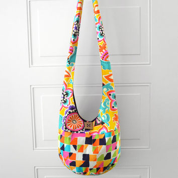 Hobo Bag Crossbody Bag Hippie Purse Sling Bag Hobo Purse Boho Bag Bohemian Hobo Bag Fabric Purse Handmade Purse Floral Hobo Bag Geometric