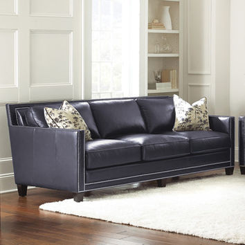 Steve Silver Hendrix Sofa w/2 Accent Pillows in Navy Blue Leather