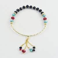 SALE 50% TASSLE BRACELET:  3mm glass faced beads bracelet with chain and beads tassle, wire bangle. Made in Istanbul, Handmade
