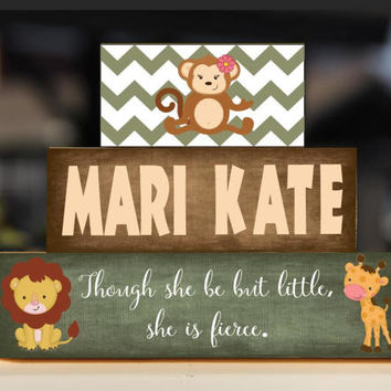JUNGLE Animal Sign Girl Nursery Artwork, Little But Fierce, Safari Zoo Animals, Lion Monkey Giraffe, Playroom Decor, Wood Stack - Decor/Gift