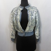 Vintage 50s Sweater Sequins Shimmer Rockabilly Short Crop AS IS Cocktail 1950s