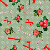 Removable Wallpaper - Crimson Flowers & Fibulas