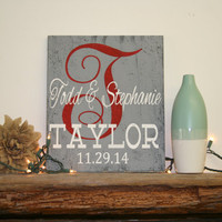 Personalized Initial Sign Custom Name Wood Sign Wedding Gift Bridal Shower Gift Shabby Chic Rustic Chic Wall Decor Home Decor